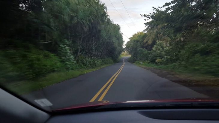 Driving to our AirBnb in Sea view, Big Island, Kalapana Hawaii.